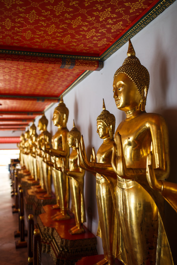 A row of golden buddhas at Wat Pho Temple